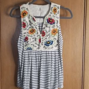 Anthropologie Tiny Floral Embroidered Tank Top xs